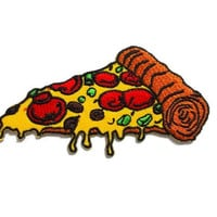Pizza - Italian Food - Cute Patch New Sew / Iron on Patch Embroidered Applique Size 8.6cm.x4.5cm.
