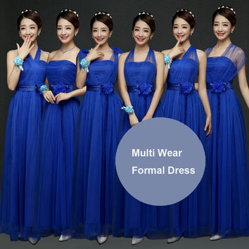 Hot Women Lady Bridesmaid Dark Blue Convertible Multi Way Wrap Formal Dress Party Wedding Full Length Maxi Long Prom Solid Dress