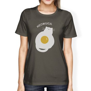Meowgical Cat And Fried Egg Womens Dark Grey Shirt