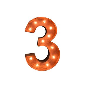 """12"""" Number 3 (Three) Sign Vintage Marquee Lights"""