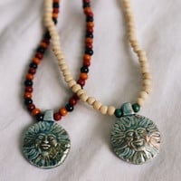 Raku Clay Smiling Sun Wood Beaded Necklaces