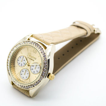 Quilted strap watch (2 colors)