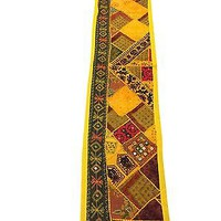 Vintage Table Runner Yellow Embroidered Mirror Work Table Throw Indian Tapestry