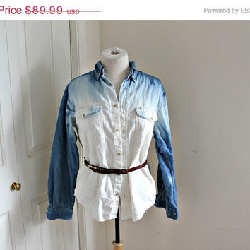 40% OFF SALE ombre vintage jean shirt. one of a kind. hand dyed.