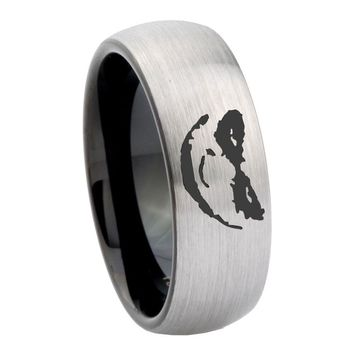 10mm Joker Design Dome Tungsten Carbide Silver Black Men's Ring