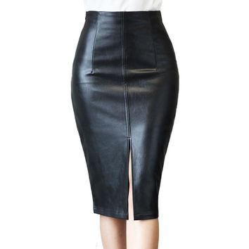 Plus Size Leather Skirt Winter Fashion Black Knee Length Pencil Skirt Slim Office Women Skirt Vintage Midi Skirt E0177