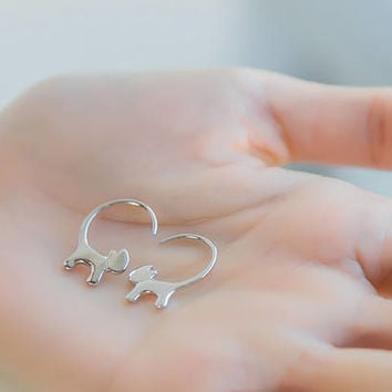 Long Tail Cat Earrings, Sterling Silver Cat Earrings, animal earrings, kitten earrings, cat Jewelry, gifts for her, cat lover gift