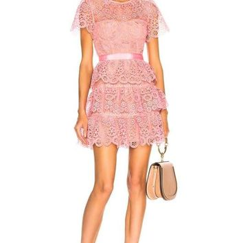 Pink Ruffle Lace Mini Dress