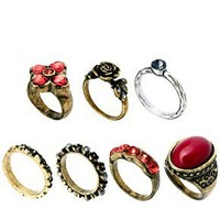 ASOS Mixed Opaque Stone Ring Pack at asos.com