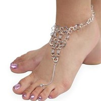 circle link ankle bracelet with stones and connected toe ring - 1000052965 - debshops.com
