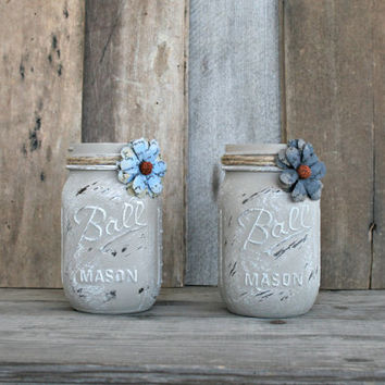 Home and Wedding Decor - Annie Sloan Chalk Paint Coco, Distressed Mason Jar, Vase or Organization
