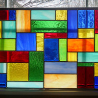 Geometric Stained Glass Window Panel - Color Burst II - Abstract Art -- Rainbow