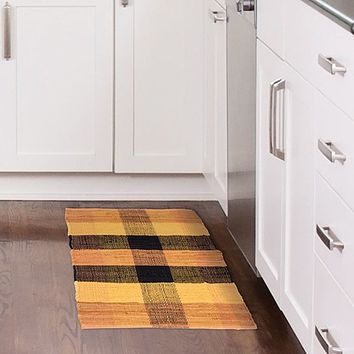 Lavish Home Chindi Plaid Accent Rug - 21x34 - Brick/Black/Mustard