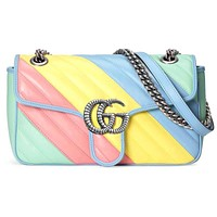 GUCCI Macaron Bag new dyed women's shopping crossbody bag shoulder bag Sky blue yellow pink bag stripe bag