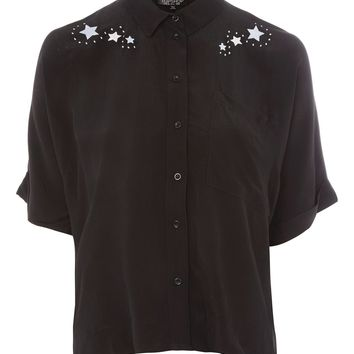 Space Embroidered Shirt - Shirts & Blouses - Clothing