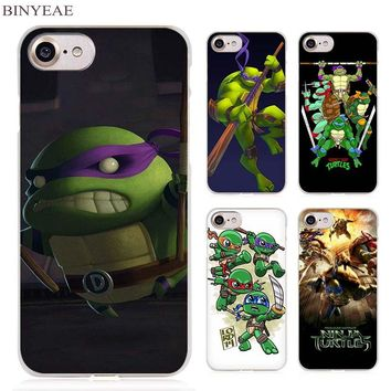 BINYEAE Teenage Mutant Ninja Turtles Clear Cell Phone Case Cover for Apple iPhone 4 4s 5 5s SE 5c 6 6s 7 7s Plus