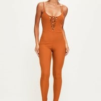 Missguided - Orange Ribbed Lace Up Strappy Unitard Jumpsuit