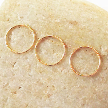Set of Three 14K Rose Gold Filled Mini Hoops, Thin 24 Gauge Cartilage Earrings