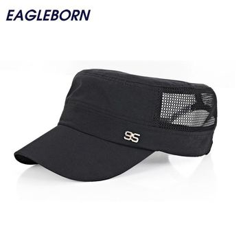 Simple 2016 Stylish Zinc Alloy 95 Logo Unisex Flat Roof Hat for Men Cadet Patrol Bush Mesh Baseball Field Caps