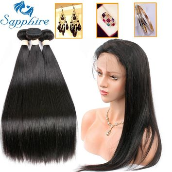 Sapphire Straight Human Hair Bundles With 360 Lace Frontal Closure Brazilian Hair Weave Bundles With Closure Hair Extension