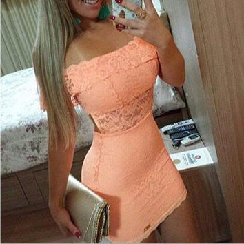 Lace Boat Neck Hollow Out Tight Dress