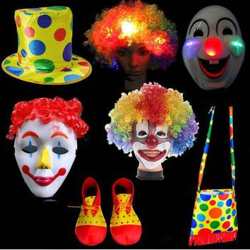 ICIK272 Xmas Fun Clown Hat Hair Wig Mask Shoes Bag Wear Performance Cosplay Party Props Costumes Supplies New Year Christmas Decor