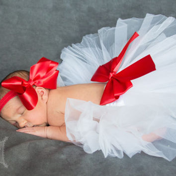 Tutu Skirt & Satin Bow, 5 1/2 inch Satin Bow, Baby Tutu, Photo Prop, Newborn Tutu, Photo Prop, Infant Tutu, Valentines Day, Birthday Tutu