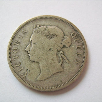 1888 Straits Settlements Silver 50 Cents Coin with Queen Victoria Scarce Antique Collectible Old British Empire Money