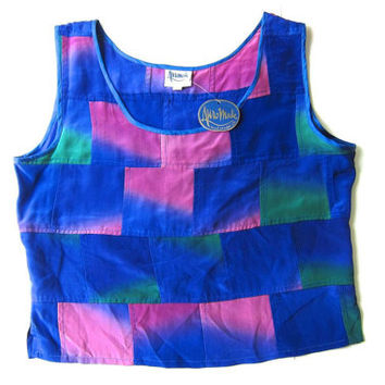 Hand Painted Silk Blouse Sleeveless Top Colorful Purple Cropped 90s Tank Top Loose Fit Boho Girl Tee Vintage Womens Large