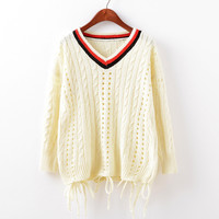 Pullover Knit Tops Women's Fashion V-neck Tassels Hollow Out Sweater [9067782980]