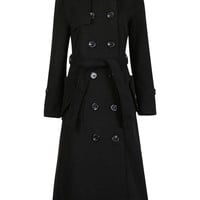 Black Multi-Button Woolen Coat with Belt
