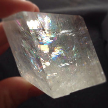 "Iceland Spar Optical Calcite Gorgeous Crystal 1.75X1.75"" Rough Viking Prediction Stone, symbolizes True Love, brings friendship peace"