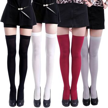 [13274] 4-Pack of Solid Color Opaque Sexy Thigh High Stockings Socks