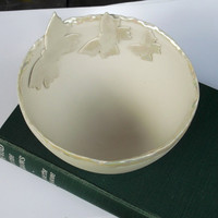 Handmade Porcelain Ceramic Large Decorative Bowl with Butterflies, Great Mothers Day Gift