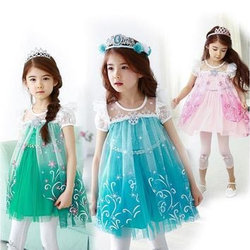 New Girls Dresses Cartoon Cosplay Snow Queen Princess Dress Elsa Dresses Anna Costume Baby Children Clothes Kids Clothing
