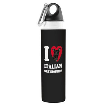 Tree-Free Greetings VB49071 I Heart Italian Greyhounds Artful Traveler Stainless Water Bottle, 18-Ounce