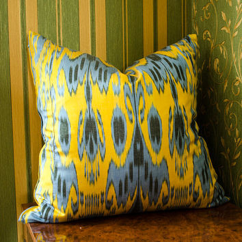 20 x 20 ikat pillow cover, Ikat Pillow, yellow, blue, ikat, 20x20 Pillows, Pillowcases, ikat cushion, Home Decor, interior pillows