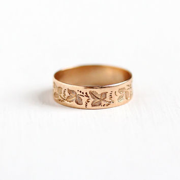 Antique Victorian 10k Rosy Yellow Gold Ivy Leaf Ring - Size 5 Vintage Late 1800s Nature Embossed Wedding Cigar Band Fine Jewelry