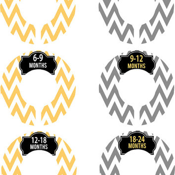 Custom Baby Closet Dividers Boy Girl Yellow Grey Chevron Nursery Closet Dividers Baby Shower Gift Baby Clothes Organizers Baby Nursery