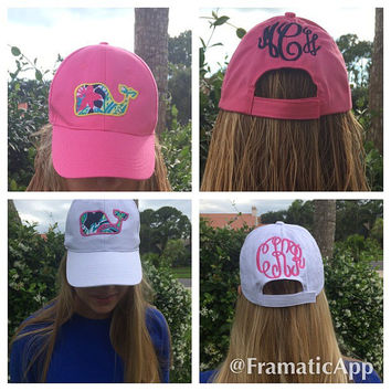 Lilly Pulitzer Whale appliqué Hat with Large Monogram on back