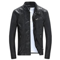 Stand Collar Slim Leather Jacket Men Motorcycle