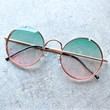 spitfire poolside in gold & blue / pink gradient round sunglasses