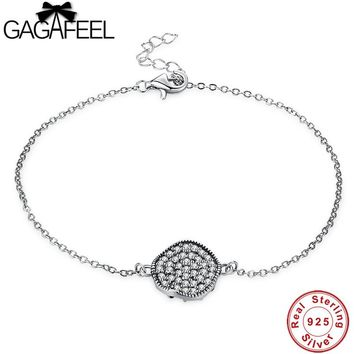 GAGAFEEL Real Pure 925 Sterling Silver Bracelet Simple Round Charm Link Bracelets for Women Wedding Party Jewelry