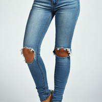 Jessica Open Knee Stretch Skinny Jeans