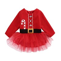 Christmas dress kids clothes baby girl clothing red long sleeve thick Autumn winter baby girls dress