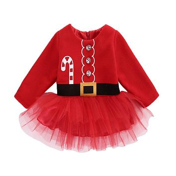 Cute Newborn Toddler Infant Baby Girl Dress Santa Claus Tulle Dress Outfits Costume Casual Clothes 0-2T