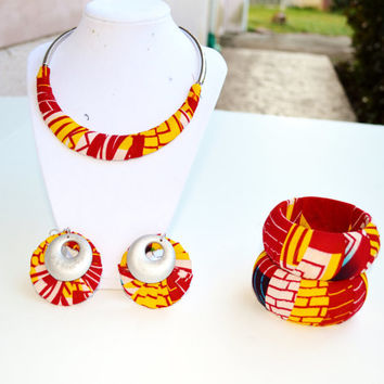 Red, Yellow And White African Jewelry Gift Set, African Earring, Necklace And Bangle Set,  Gift for her -  African Ankara Fabric Gift Set