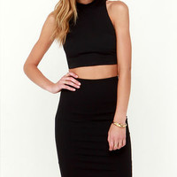 All in the Details Black Bodycon Two-Piece Dress