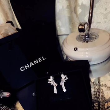 Chanel stud earrings Rhinestone Aristocratic  bow tie earnail high end 925 pure silver