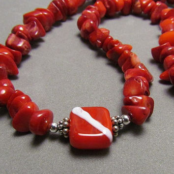 Lampwork and Coral Necklace Dive Flag Bead Sterling by Harleypaws